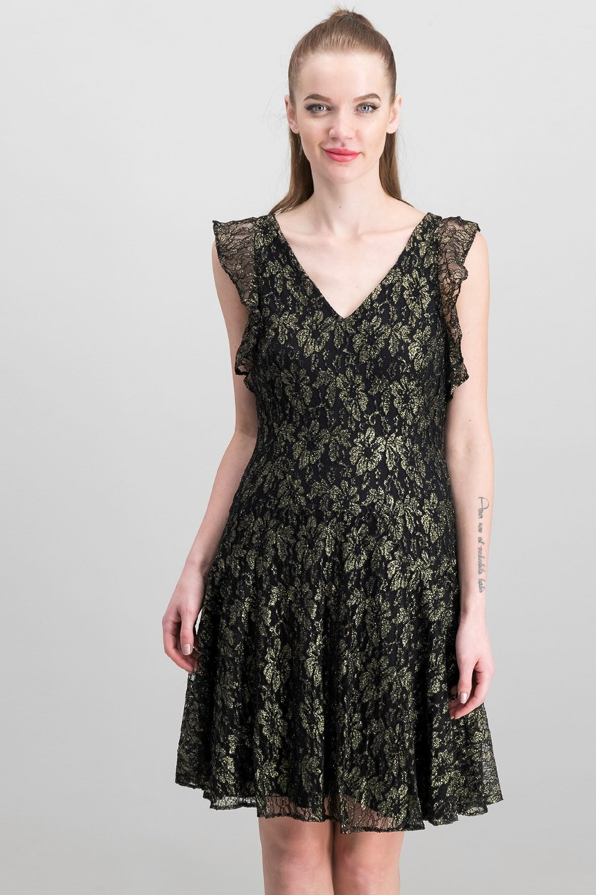 Metallic-Lace Fit Flare Dress, Black/Gold