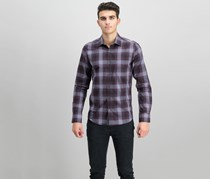 Ryan Seacrest Distinction Men's Plaid Pocket Shirt, Gray/Port
