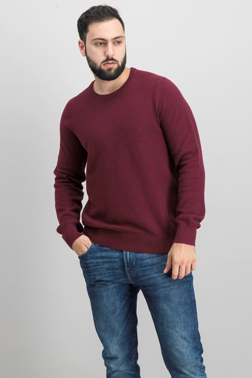Men's Modern-Fit Herringbone Sweater, Port