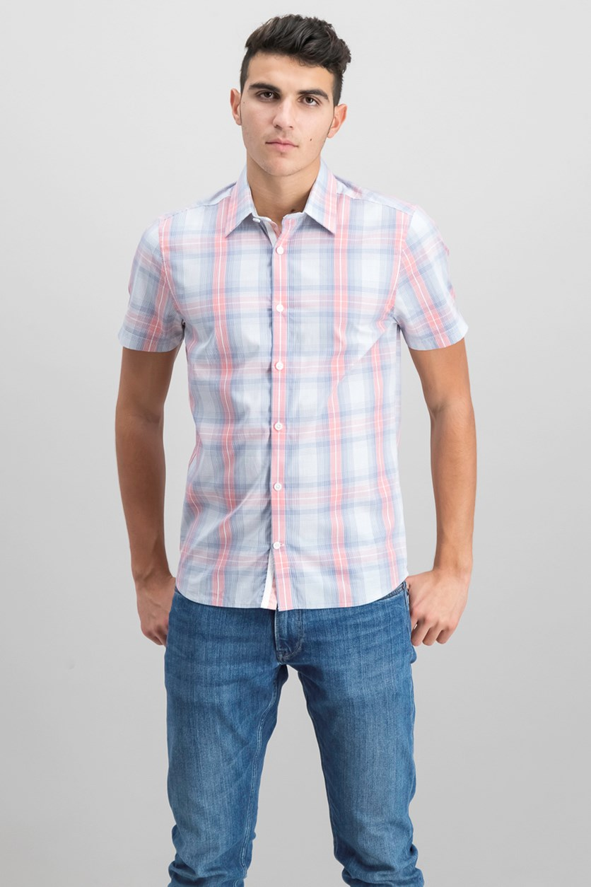 Mens Slim-Fit Plaid Shirt, Pink/Blue