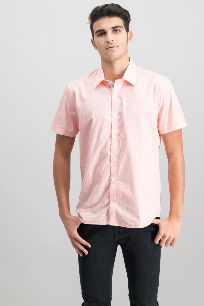 Men's Slim-Fit Geometric-Print Sport Shirt, Pastel Pink