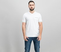 Ryan Seacrest Distinction Men's Slim-Fit Stripe V-Neck Pocket T-Shirt, White