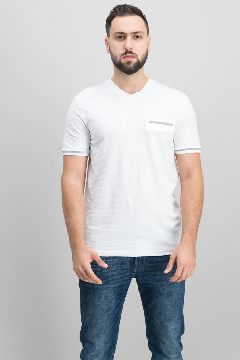 Men's Slim-Fit Stripe V-Neck Pocket T-Shirt, White