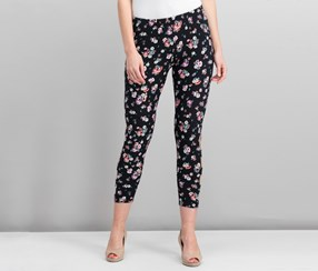 Juniors' Printed Cropped Lattice Leggings, Cabbage Rose/Black