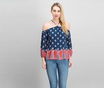Jessica Simpson Printed Off-the-shoulder Top, Cryst Printed Blue