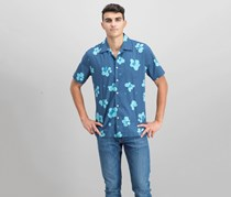 Quiksilver Men's Waterfloral Camp Shirt, Ensign Blue