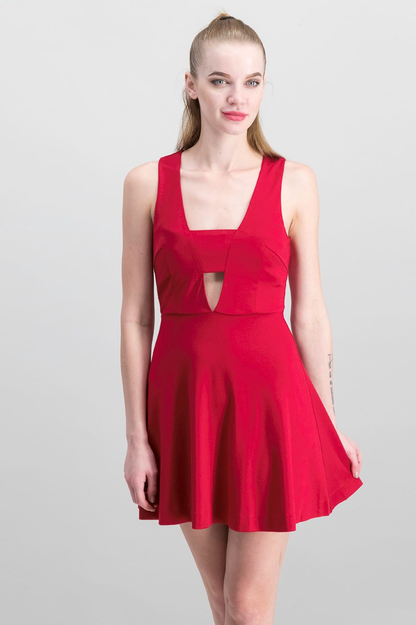 Women's Fit & Flare Dress, Ruby Red