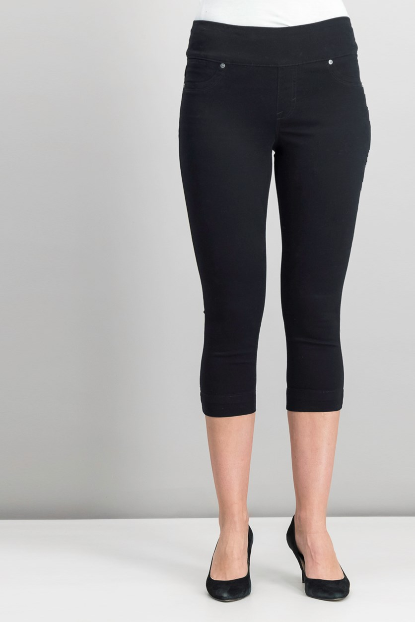 Women Petite Pull-On Capri Pants, Deep Black