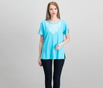 Alfred Dunner Women's Embroidered Cutout-Sleeve Top, Aqua