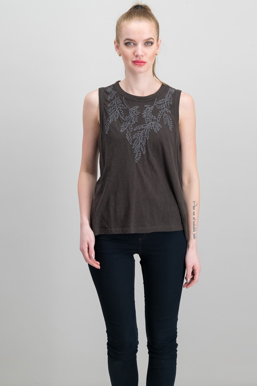 Embroidered Leaf Ruched Back Tank, Lucky Black