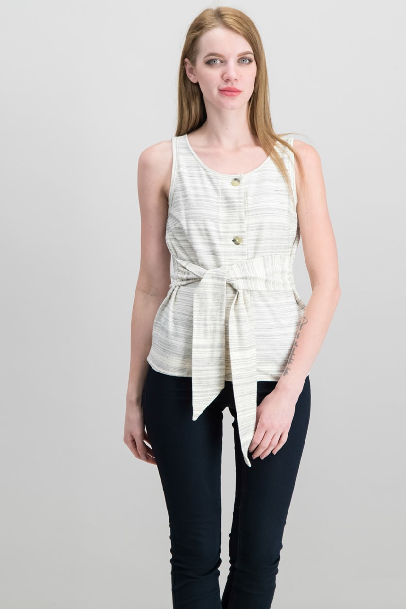 Striped Tie-Front Sleeveless Top, Grey Stripe