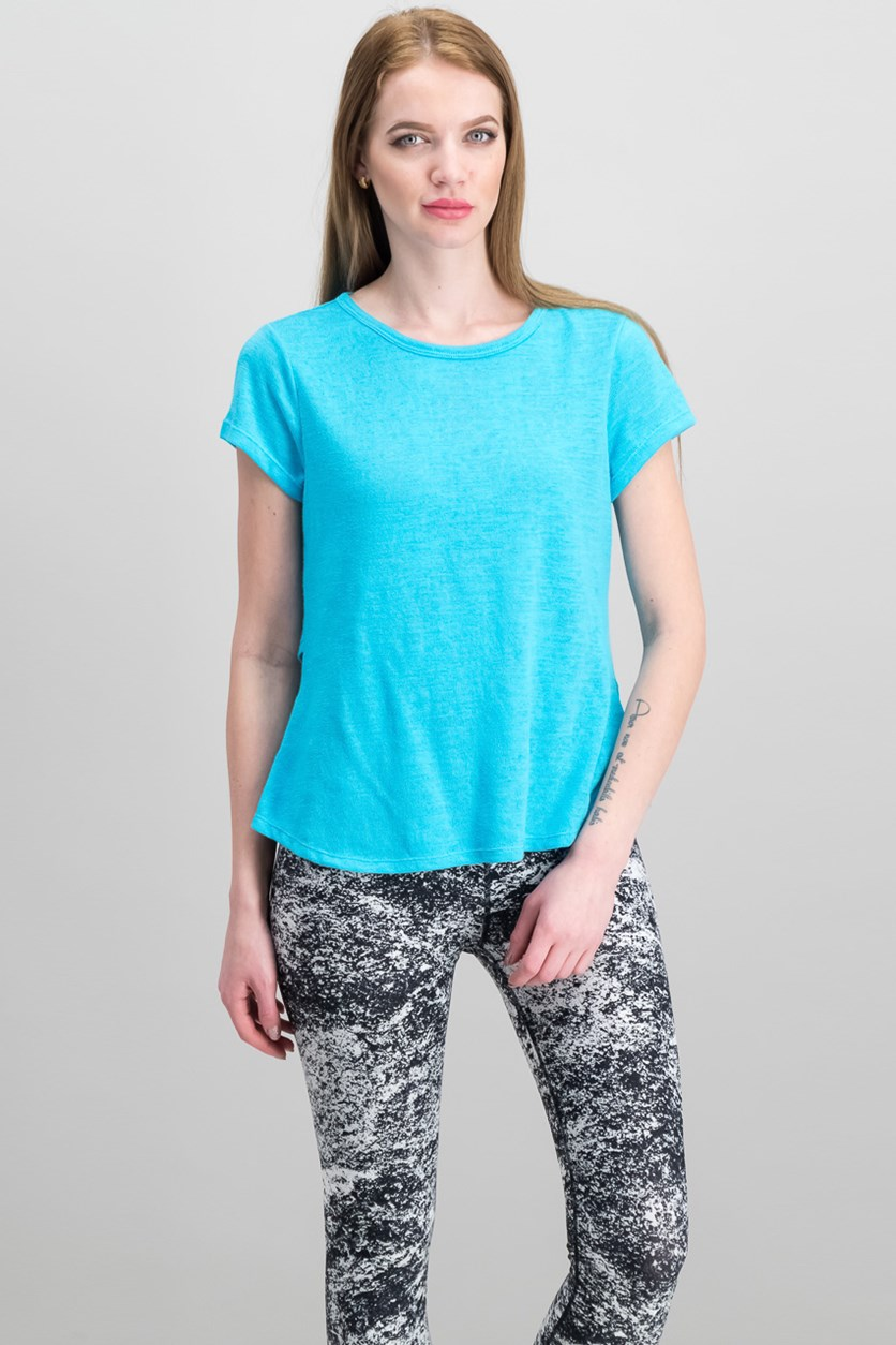 Overlapping-Back T-Shirt, Cyan