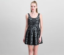 Soprano Women's Floral Metallic Dress, Black