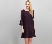Tommy Hilfiger Women's Stretch Lace Bell Sleeve Dress, Aubergine