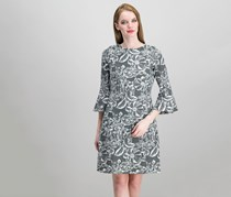 Tommy Hilfiger Bell-Sleeve Floral Knit Jacquard Dress, Ivy/Black