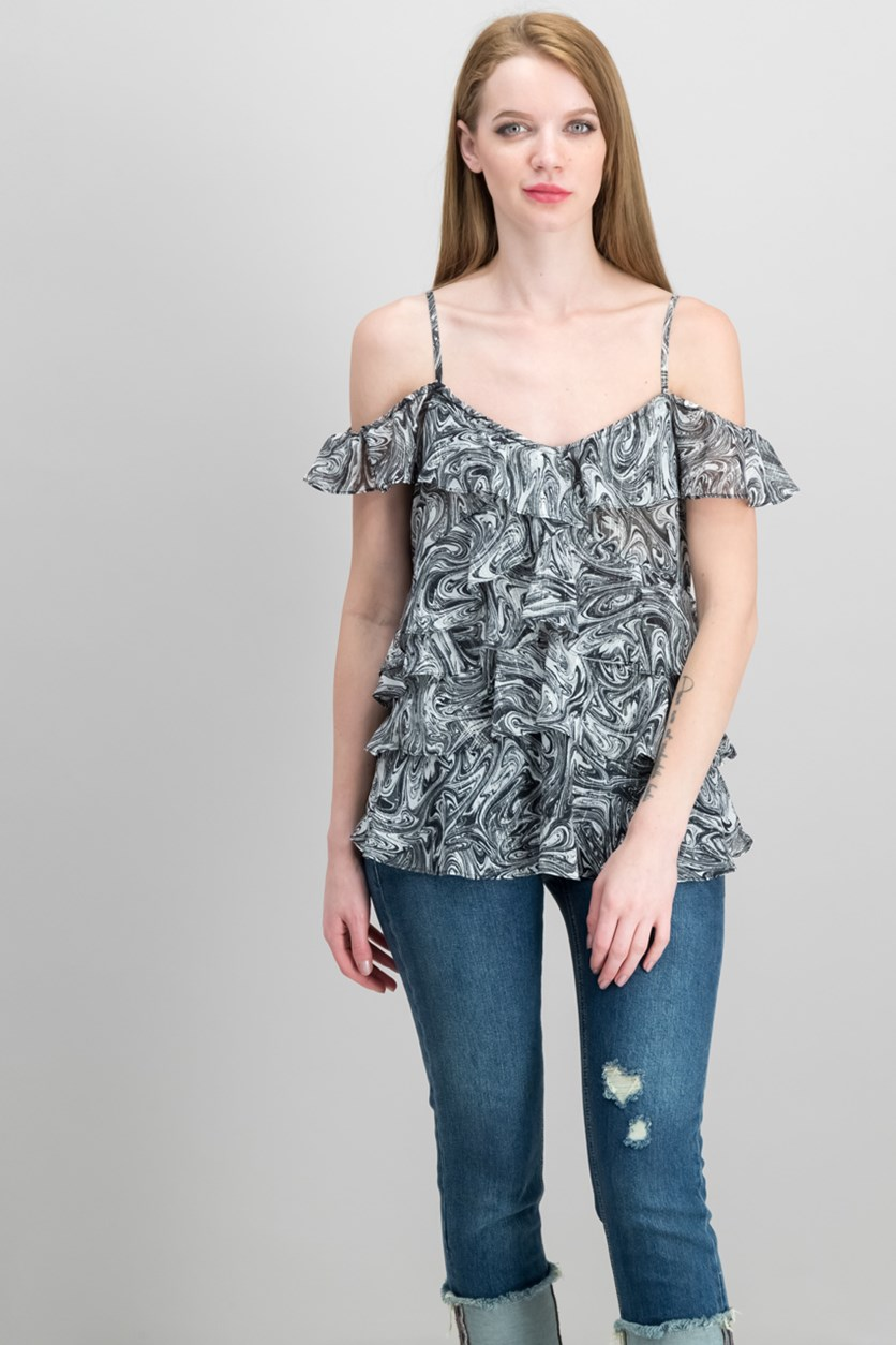 Marbled-Print Ruffled Top, White/Black
