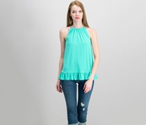 Michael Kors Ruffled Halter Top, Aqua