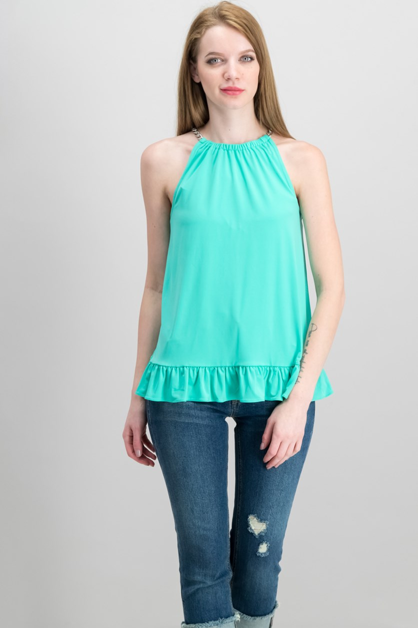 Ruffled Halter Top, Aqua