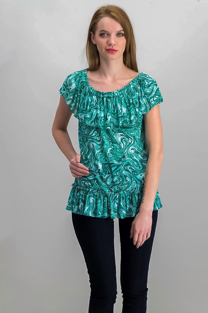 Marbled-Print Off Shoulder Top, White/Aqua