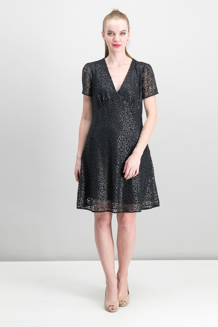 Sequined Mesh Dress, Black