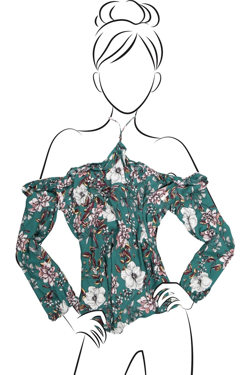 Women's Floral Blouse, Teal