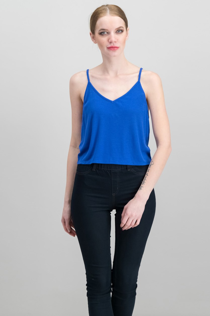 Textured Sleeveless Crop Top, Blue
