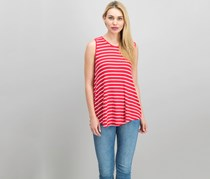 Women Striped Sleeveless Top, Red/White