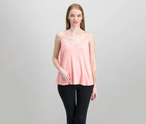 Women V Neck Sleeveless Top, Pink