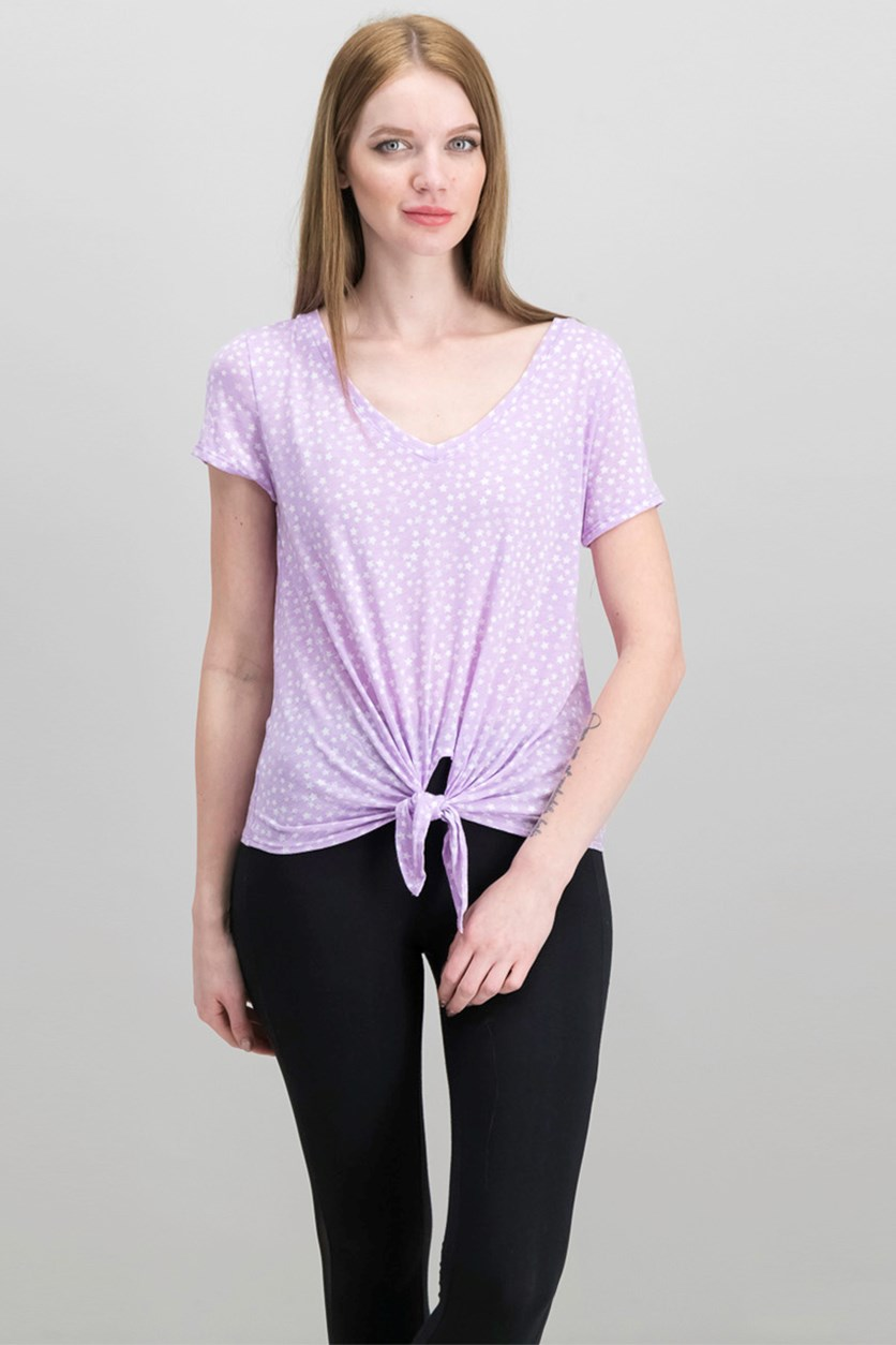 Women's Printed V-Neck Tops, Lilac Lullaby