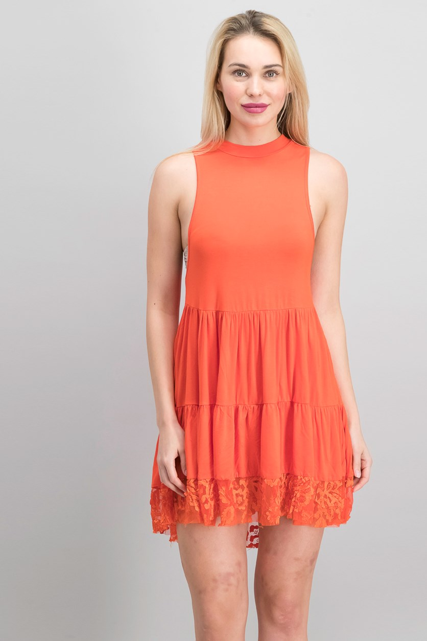 Women Lace Sleeveless Casual Dress, Orange