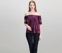Off Shoulder Embroidered Top, Eggplant