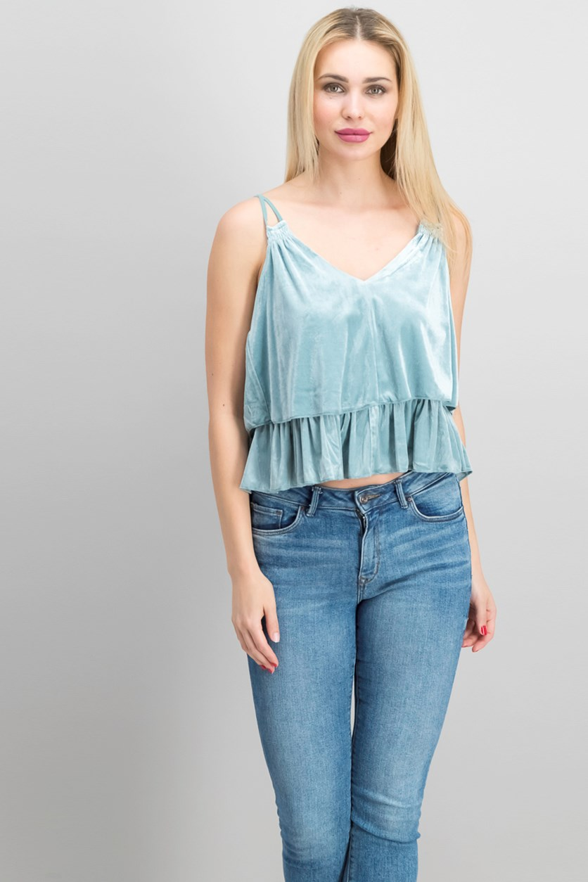 Women's Velvet Double Tier Tank, Misty Sage