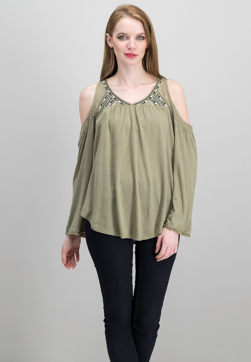 d0a4f981a18323 Shop Xhilaration Xhilaration Women s Cold Shoulder Tops