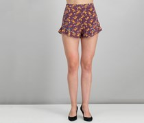 Xhilaration Women's Floral Print Short, Burgundy Combo