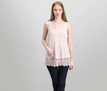 Knox Rose Women's Embroidered Top, Pink Metal