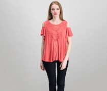 Knox Rose Women's Embroidered Top, Coral
