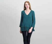 Knox Rose Embroidered Long Sleeves Top, Forest Green