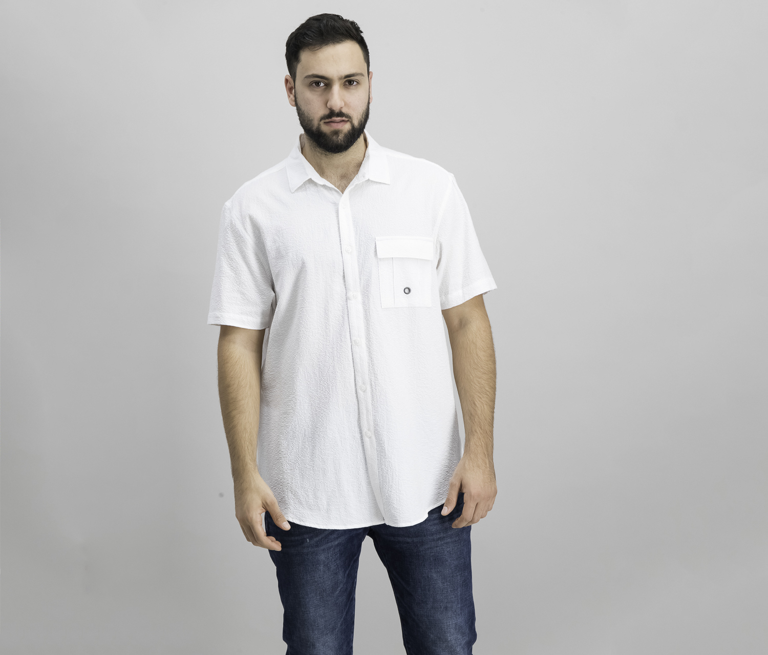 I-N-C Mens Textured Utility Button Up Shirt