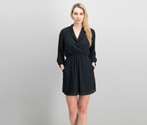 Bar III Women Surplice Dress, Deep Black