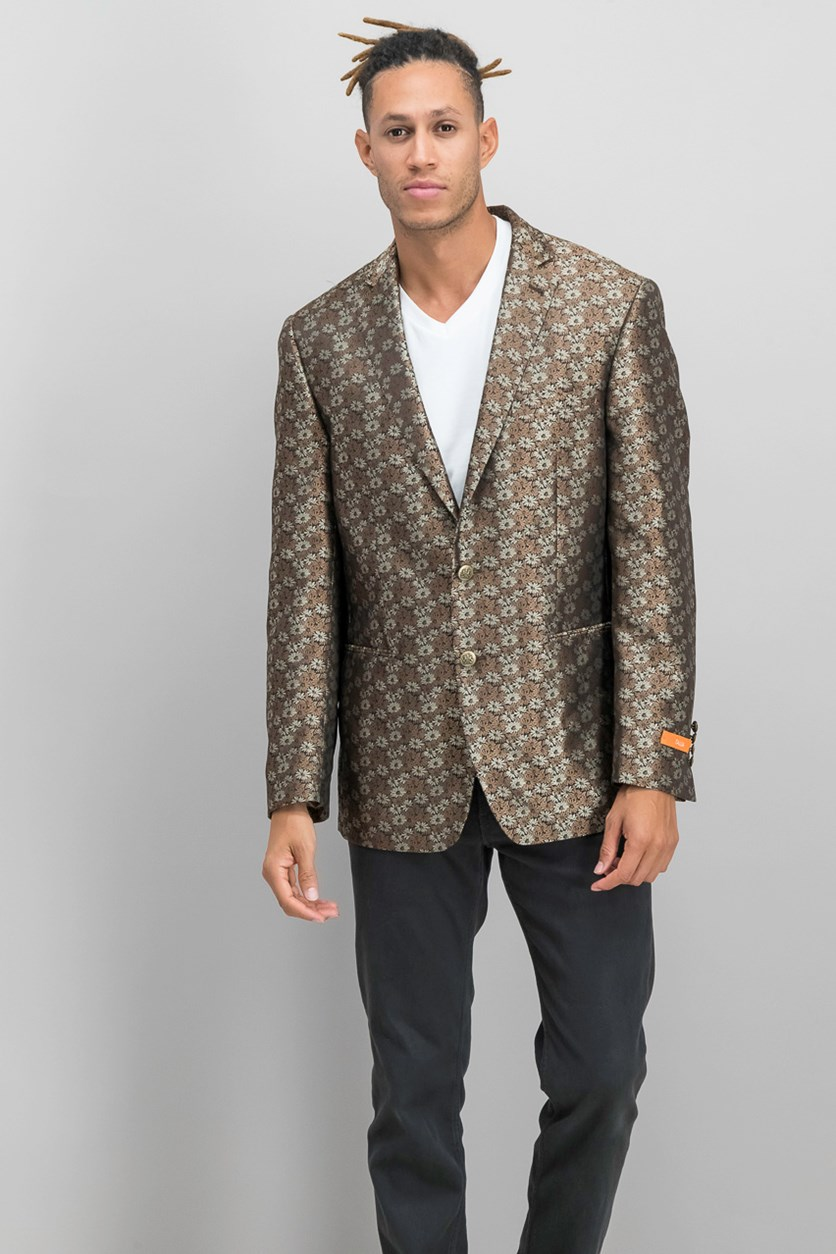 Men's Modern-Fit Floral Blazer, Black/Brown