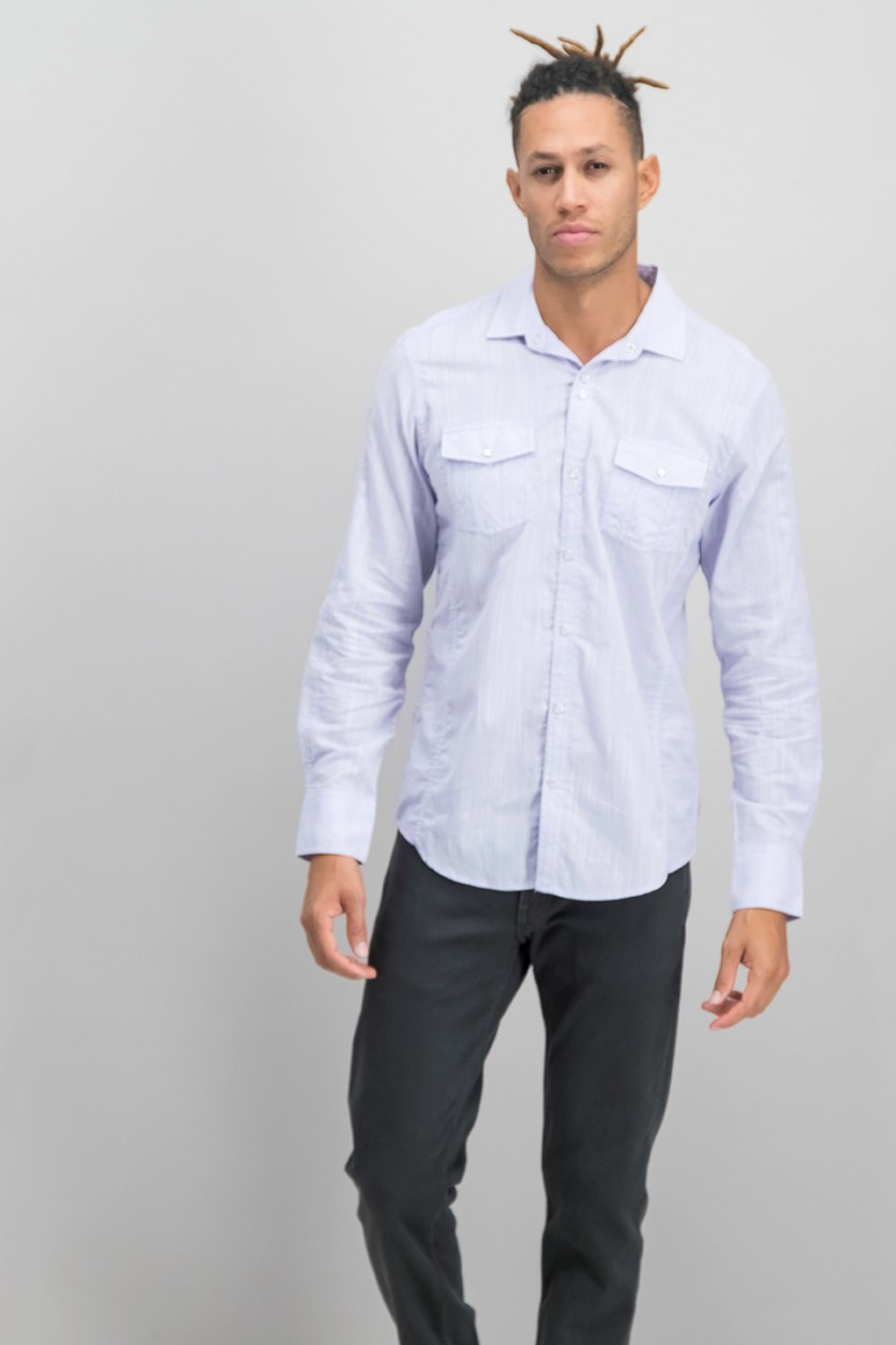 International Concepts Men's Textured Chambray Shirt, Candy Violet