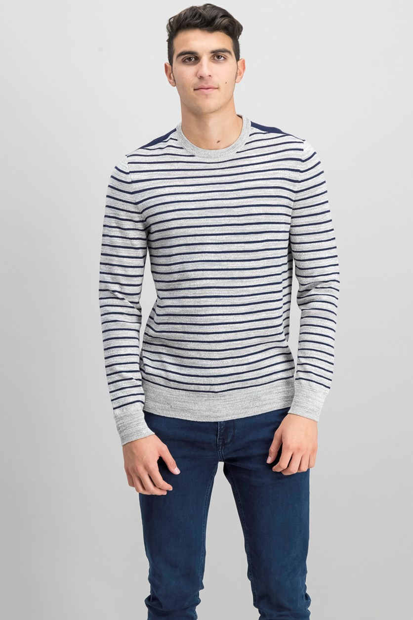 Mens Low Tide Striped Pullover Sweater, Soft Gray Heather