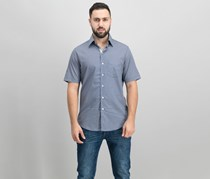 Tasso Elba Mens Short-Sleeve Bending-Print Shirt, Navy Combo