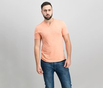 International Concepts Mens Soft Touch Split-Neck, Ginger Coral
