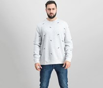 Men's Whale-Embroidered Sweater, Silver Heather Combo