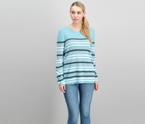Colorblocked Striped Button-Detail Sweater, Tile Blue Combo