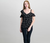 INC International Concepts Petite Printed Cold-Shoulder Top, Essential Plaid