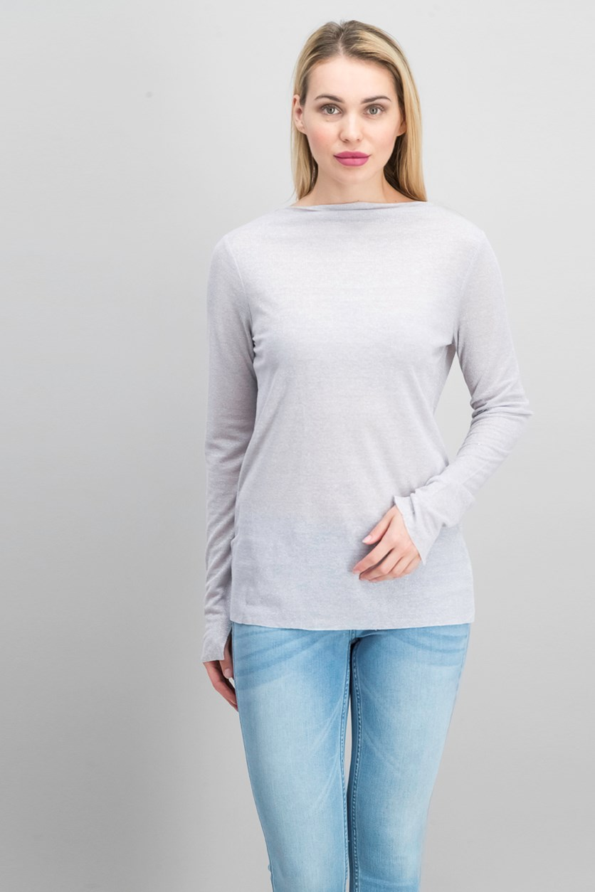 Jeans Boat-Neck Metallic Top, Grayed Lavender
