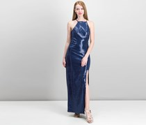 Teeze Me Juniors' Sequined Illusion Column Gown, Navy
