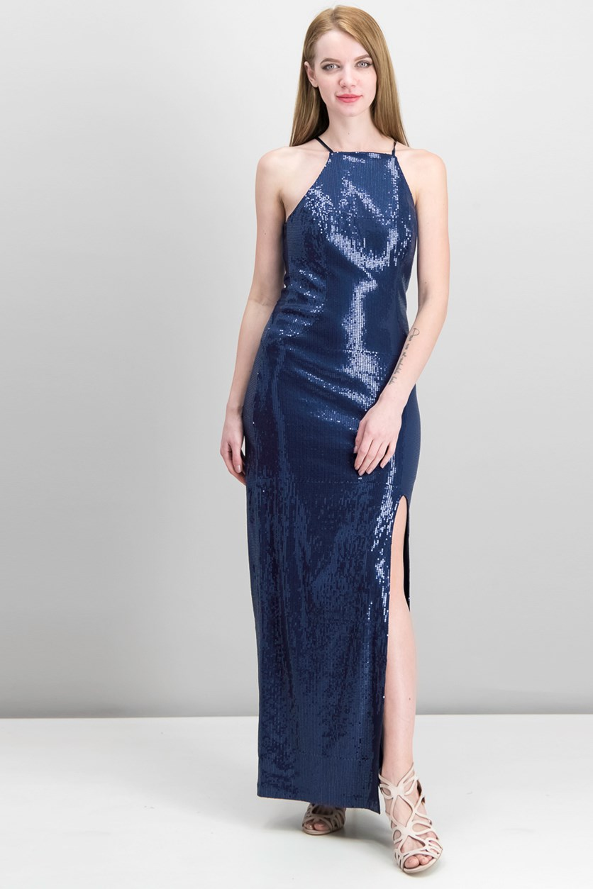 Juniors' Sequined Illusion Column Gown, Navy
